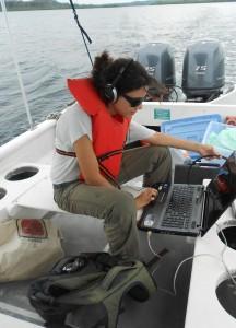 Grabando delfines en el bote
